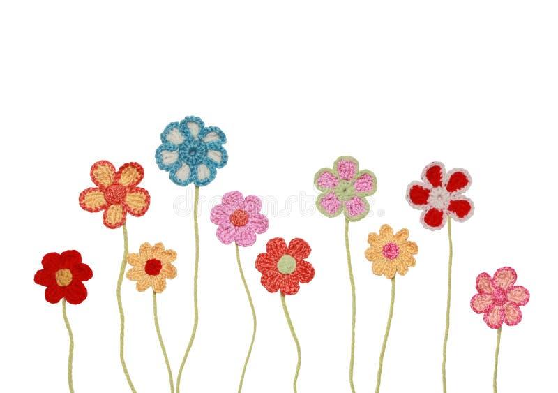 钩针编织的花收藏 库存照片