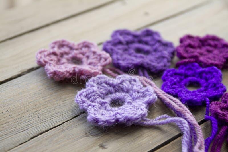 钩针编织的花 库存照片