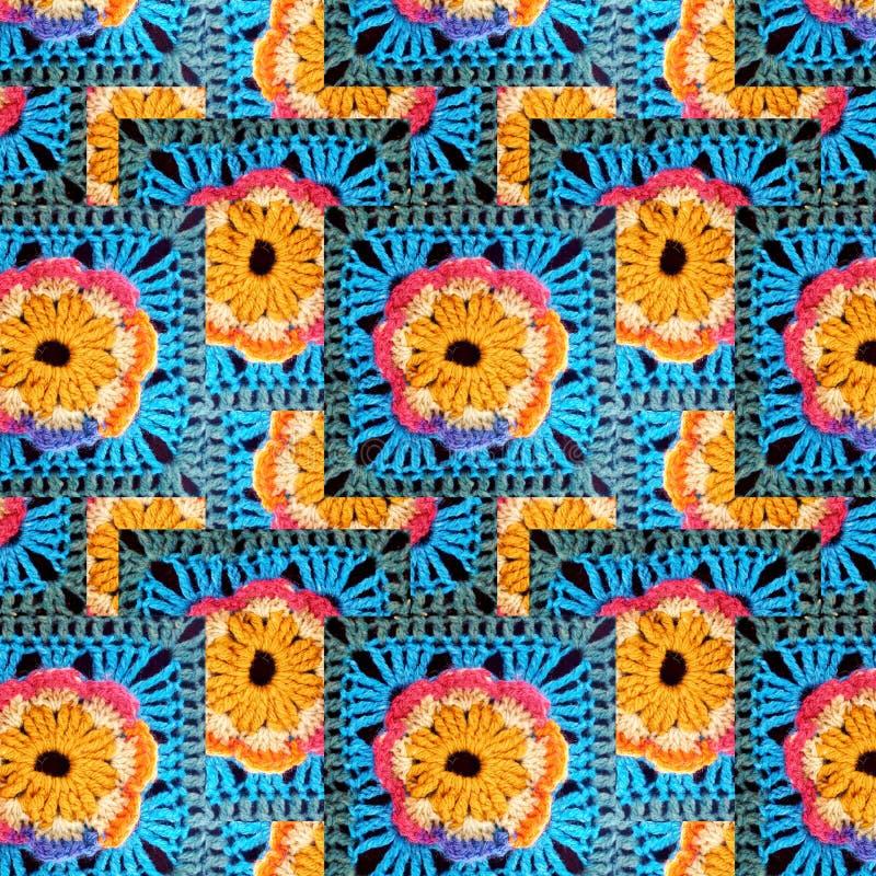 钩针编织花的花梢样式 免版税图库摄影