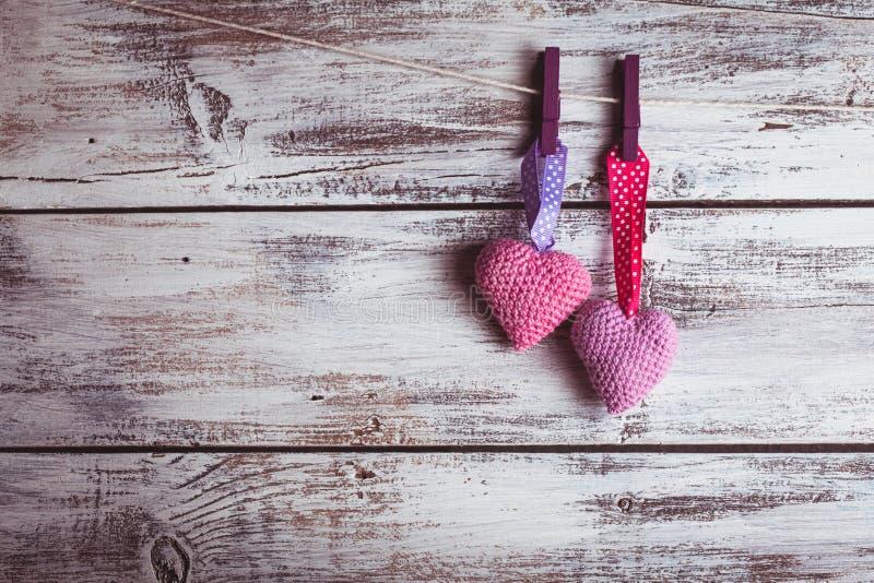 钩针编织可爱的心脏 库存照片