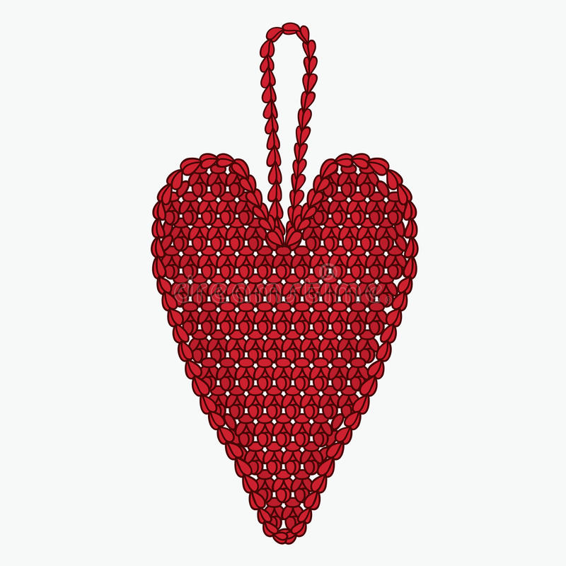 Download 钩针编织心脏 圣诞树玩具 库存例证. 插画 包括有 图象, 圣诞节, 绳索, 设计, 呱呱地叫的, 编织 - 62532285