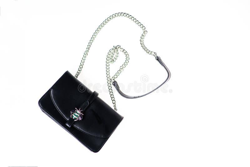 钱包、袋子或者提包在白色背景 时兴的辅助部件概念 从黑皮革做的钱包在白色 免版税库存图片