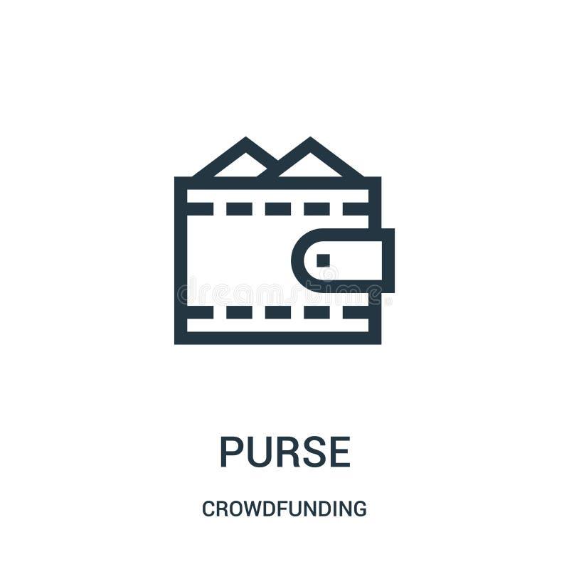 钱包从crowdfunding的收藏的象传染媒介 稀薄的线钱包概述象传染媒介例证 库存例证