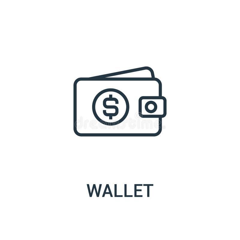 钱包从seo汇集的象传染媒介 稀薄的线钱包概述象传染媒介例证 线性标志为在网和机动性的使用 皇族释放例证