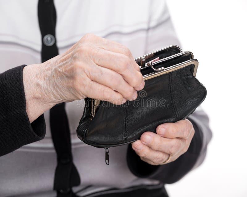 钱包在手上 免版税库存照片