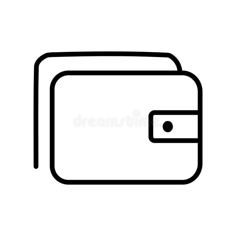 钱包在白色背景、钱包标志、线或者线性标志隔绝的象传染媒介,在概述样式的元素设计 皇族释放例证