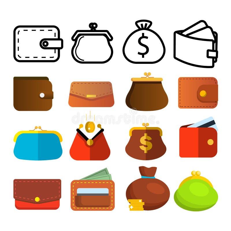 钱包象集合传染媒介 金钱标志 钱包钱包袋子 付款标志 财务货币设计 金融市场对象 库存例证