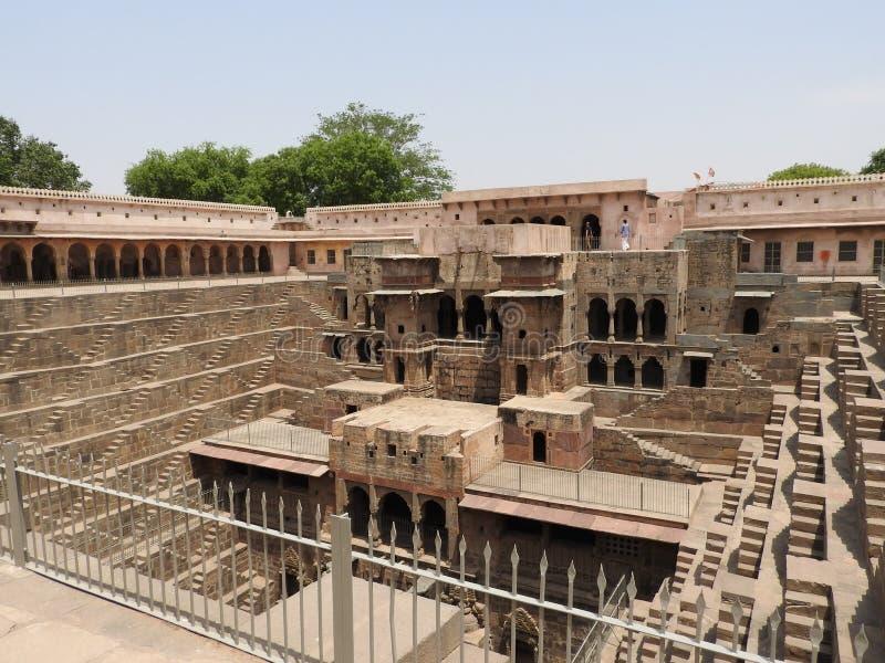 钱德Baori很好,其中一最深刻的步在印度 库存照片