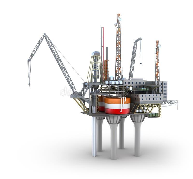 钻井的近海平台 向量例证