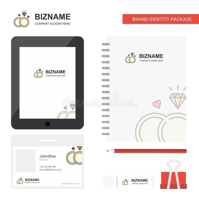 钻戒企业商标、选项应用程序,日志PVC雇员卡片和USB品牌固定式成套设计传染媒介模板 向量例证