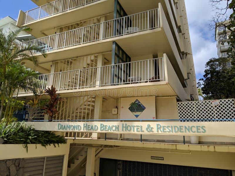 钻石头山海滩旅馆&住所签字和入口 免版税库存照片