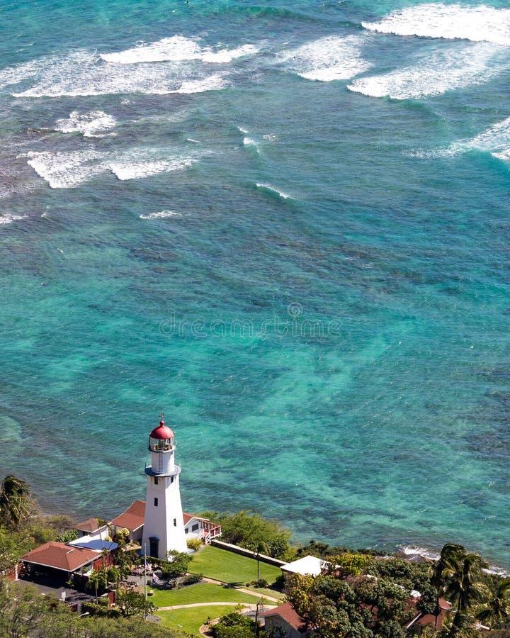 钻石头山灯塔檀香山夏威夷 免版税库存图片