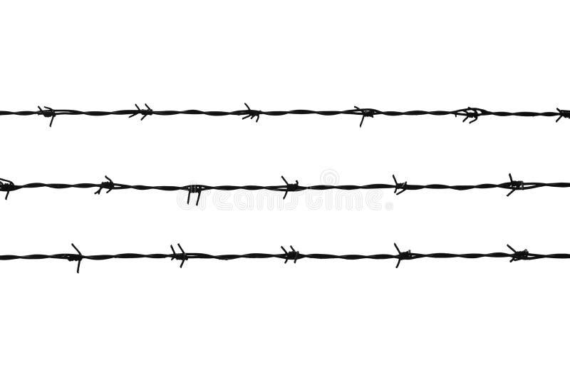 铁丝网三条线在白色的 库存照片