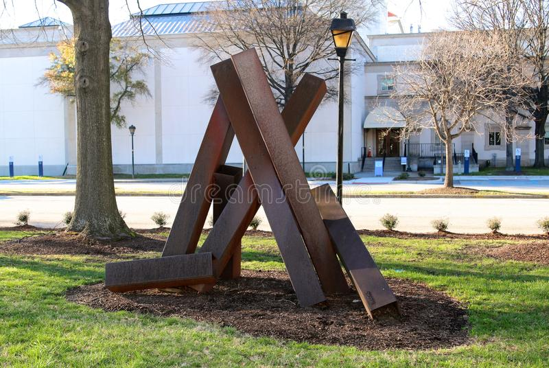 铁在克莱斯勒艺术馆的艺术展览 库存照片