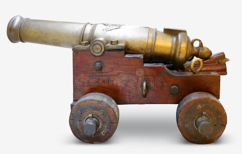 铁在白色背景的火炮大炮 免版税库存图片