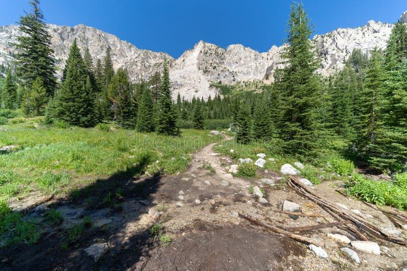 铁小河足迹向Sawtooth湖在爱达荷的原野和锯齿山在一好日子 免版税库存图片
