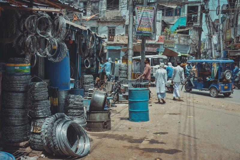铁市场在瓦腊纳西,印度 免版税图库摄影