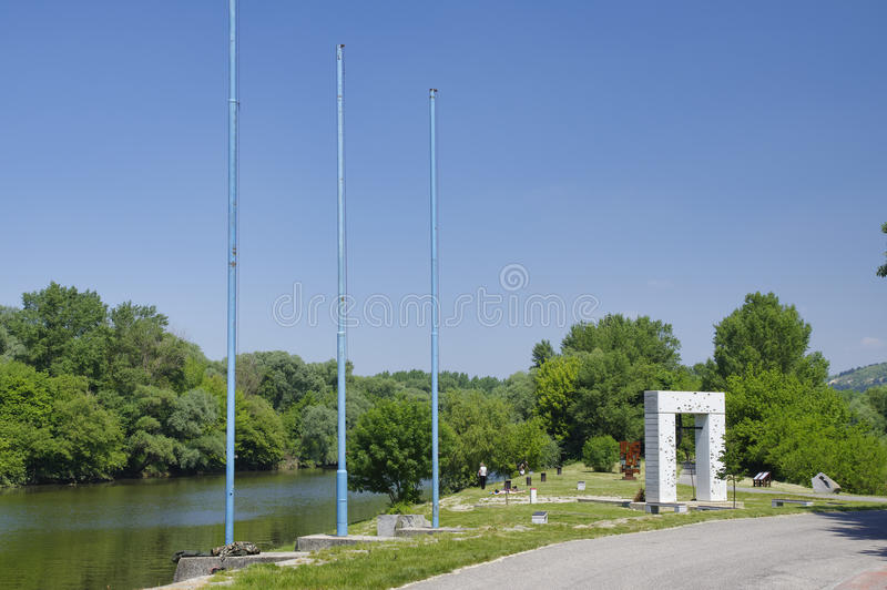 铁幕纪念碑,布拉索夫,斯洛伐克 图库摄影