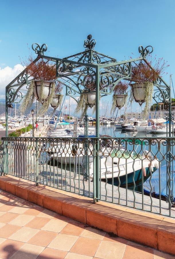 铁树荫处以装饰口岸的码头的垂悬的篮子 免版税库存图片