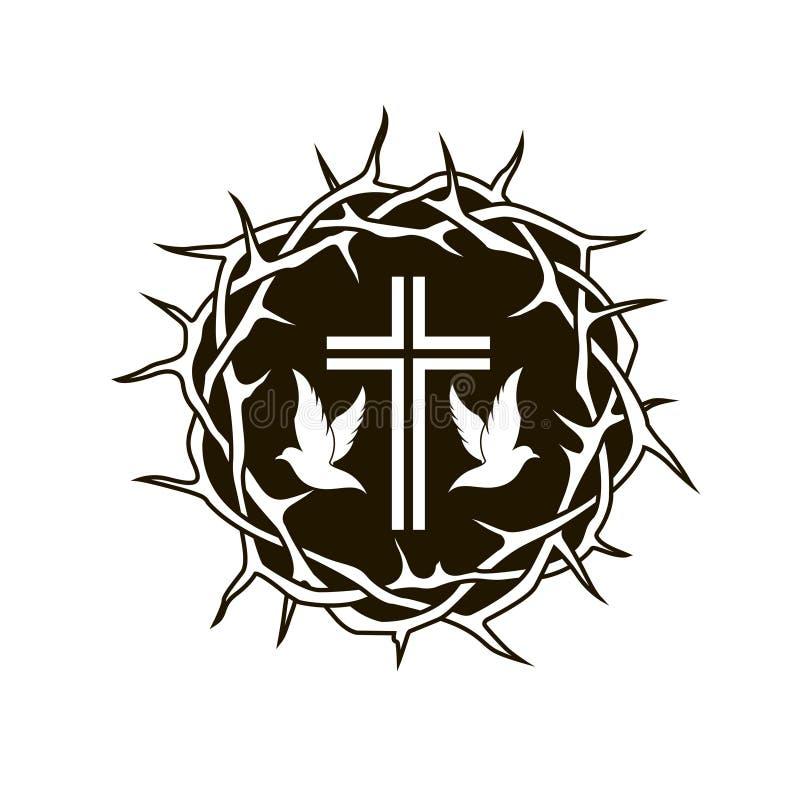 铁海棠、十字架和鸠 库存例证