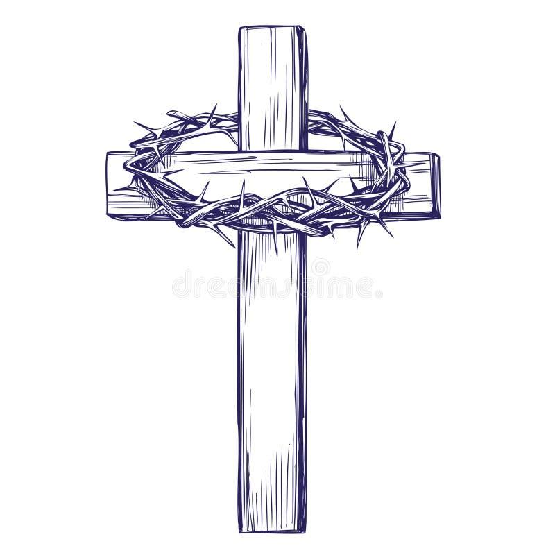 铁海棠,木十字架 复活节 基督教手拉的传染媒介例证剪影的标志 库存例证