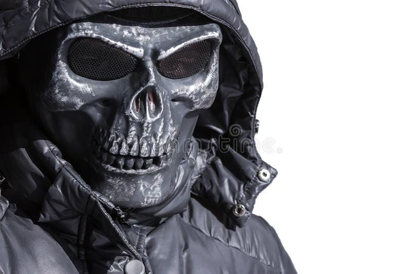 铁的危险匪徒,在白色背景的曲棍球面具 免版税库存图片