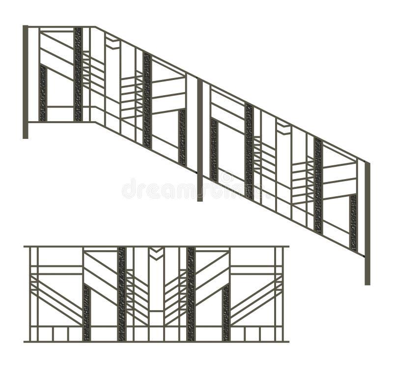 铁范围和台阶用栏杆围 皇族释放例证