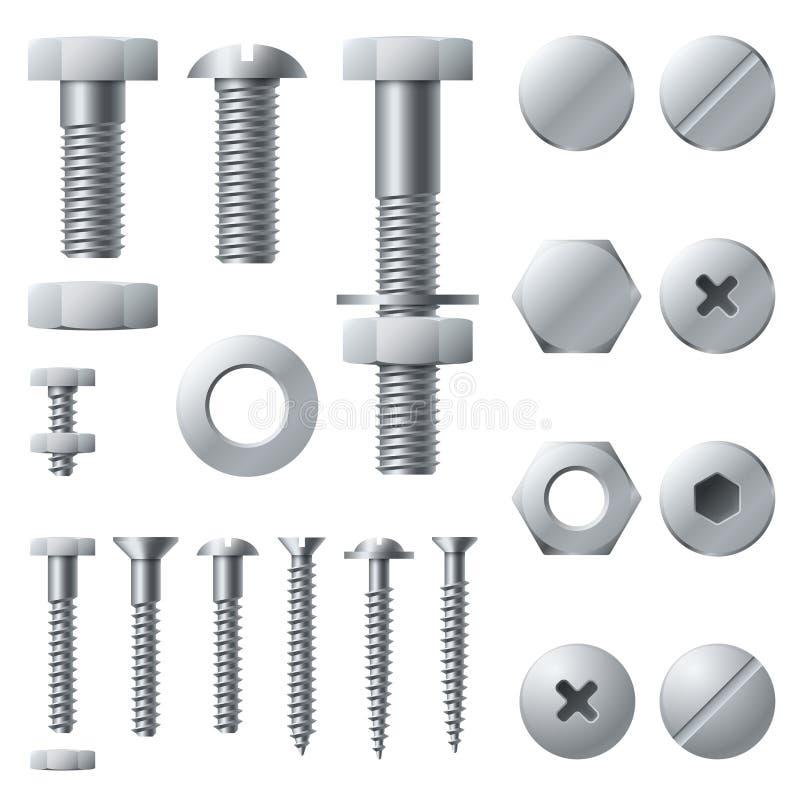 铁螺丝 螺栓螺丝坚果铆钉头钢建筑元素 现实螺栓被隔绝的传染媒介集合 向量例证