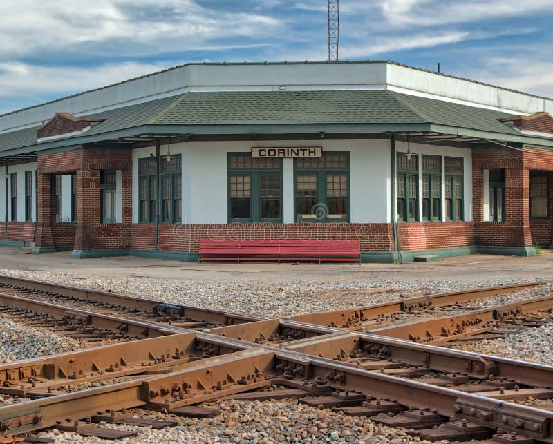 铁路交叉路在科林斯湾,密西西比 免版税库存照片