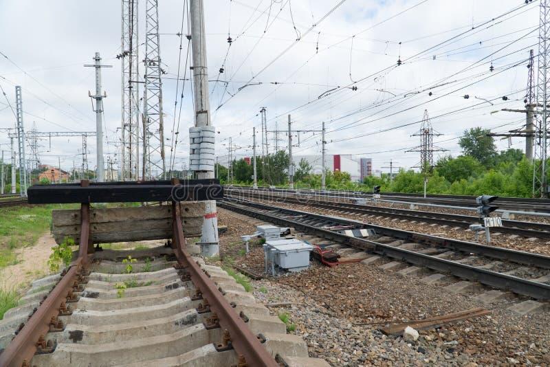 铁路僵局 铁路轨道的末端 库存图片
