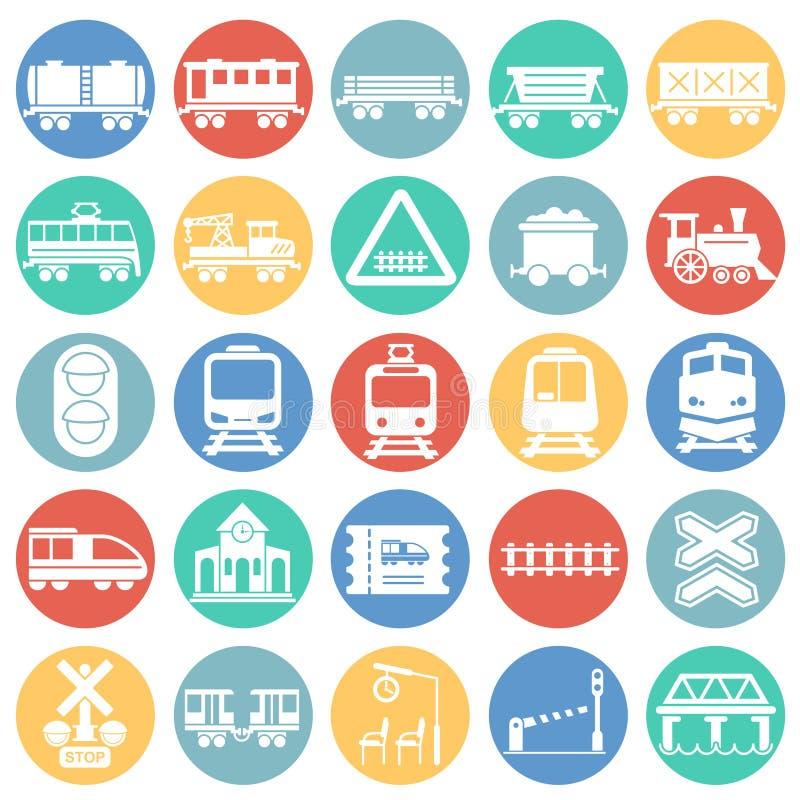 铁路关系了在图表和网络设计的色环白色背景设置的象 简单的传染媒介标志 互联网 向量例证