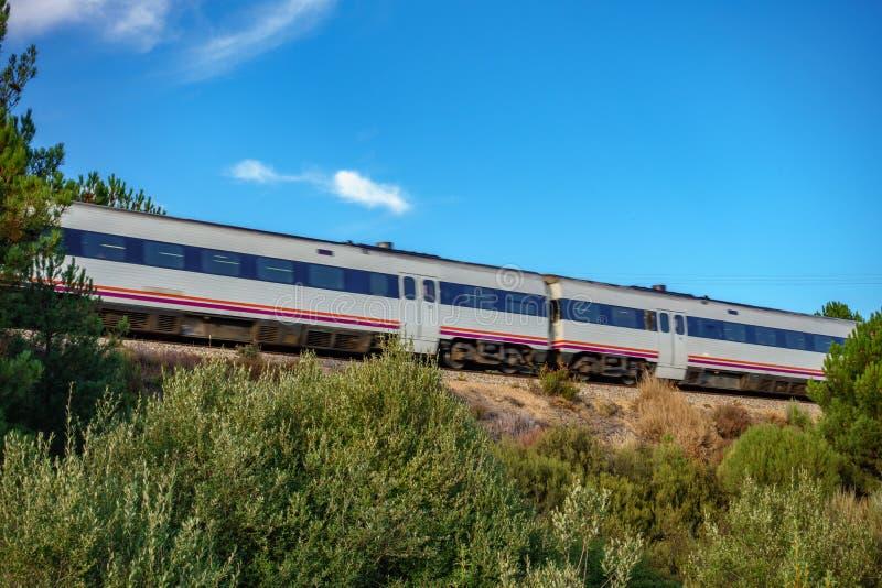 铁路和火车在自然中间 库存照片