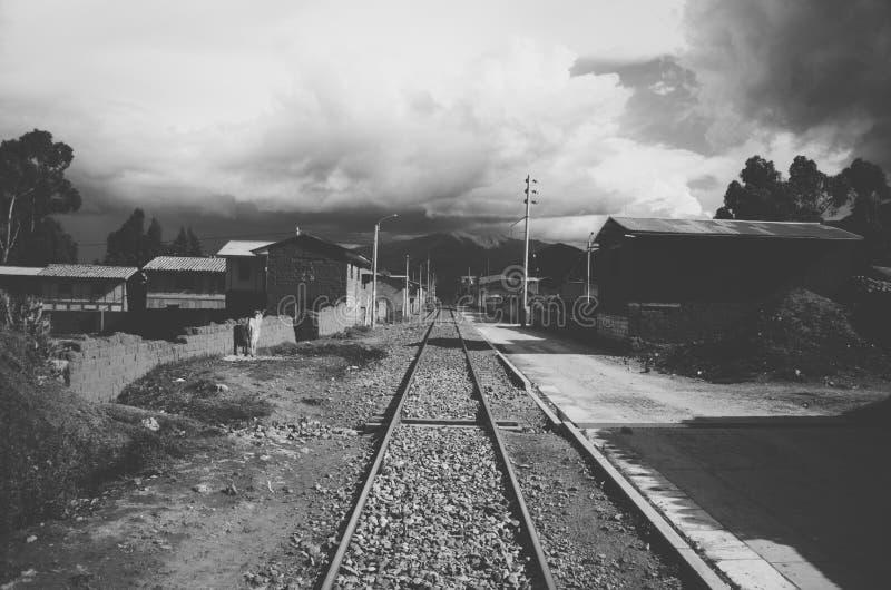 铁路在秘鲁 免版税库存照片