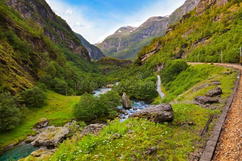 铁路在Flam -挪威 图库摄影