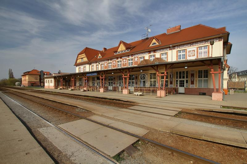 铁路在Uherske Hradiste 免版税库存照片