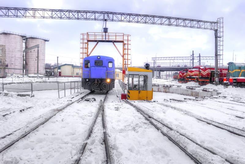 铁路机车集中处 库存照片