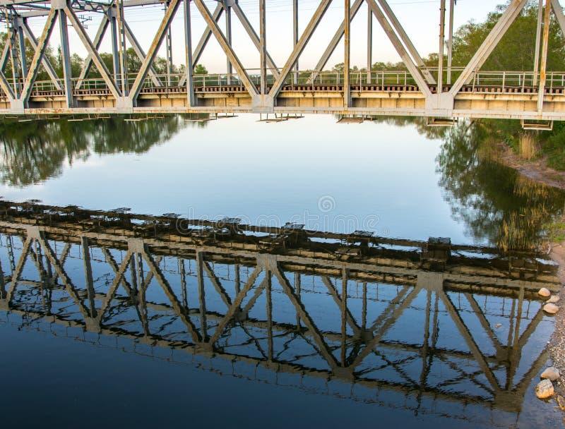 铁路桥的反射在日落的河在夏天 免版税库存图片