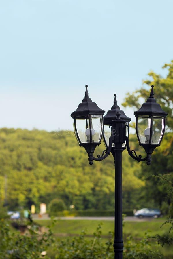 黑铁路灯柱在葡萄酒样式的公园在被弄脏的背景 免版税图库摄影