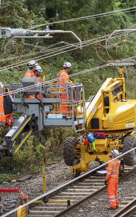 铁路电子工作者 库存图片