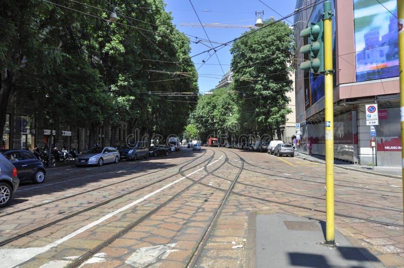 铁路米兰街道  免版税图库摄影