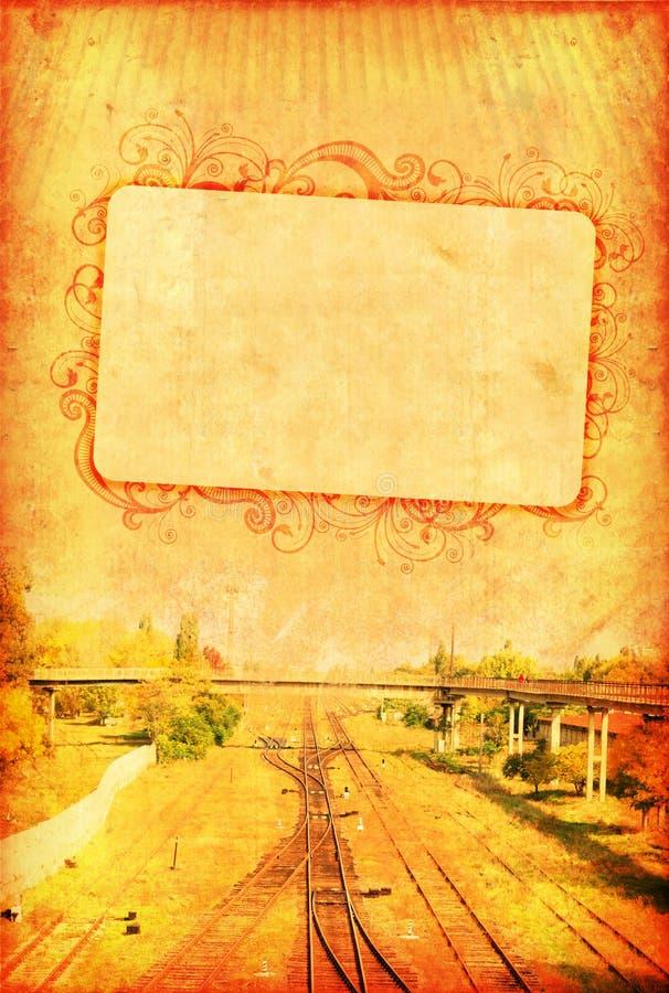 铁路葡萄酒墙纸 库存例证
