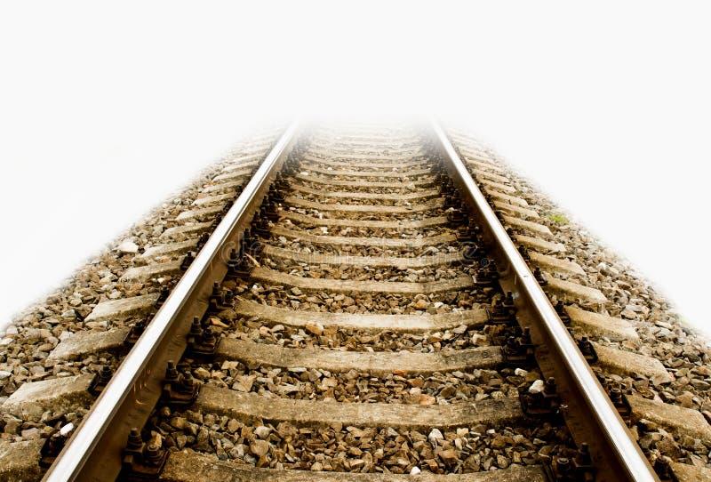 铁路路轨突然结束,使所有模糊,隔绝,白色后面 免版税库存图片