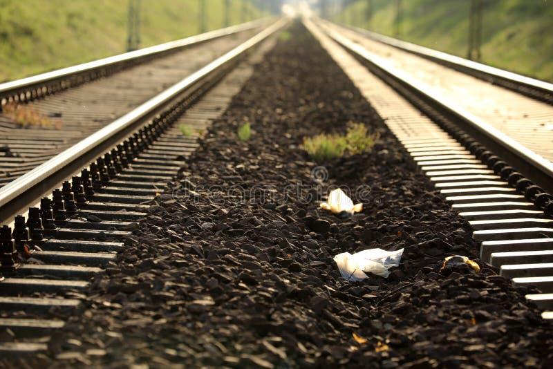 铁路轨道在欧洲在一好日子 免版税库存照片