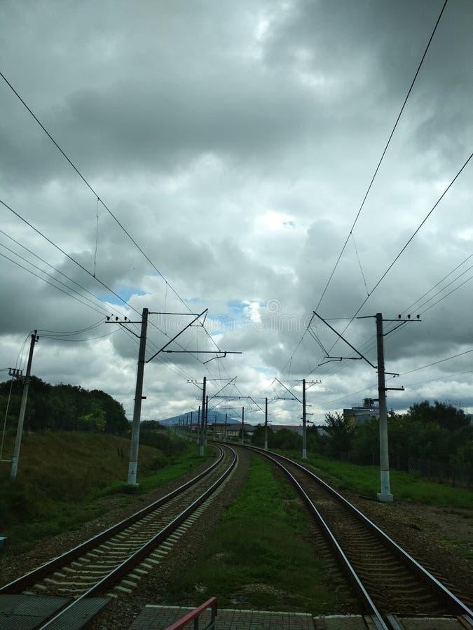 铁路轨道消失 图库摄影
