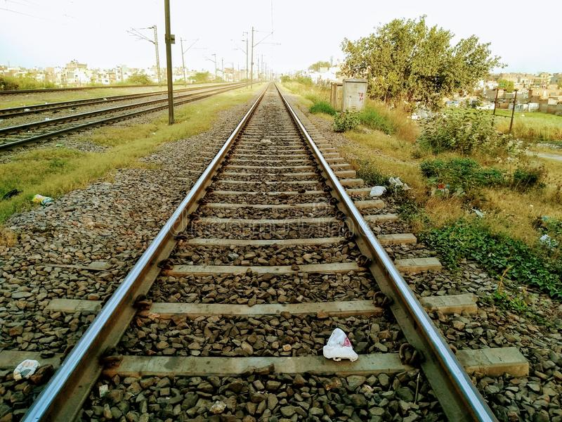铁路轨道的图片 免版税库存照片