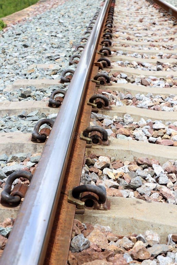 铁路轨道的特写镜头 使用在运输 库存照片