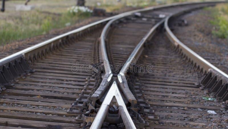 铁路轨道,高速路轨铁路pointwork 免版税库存照片