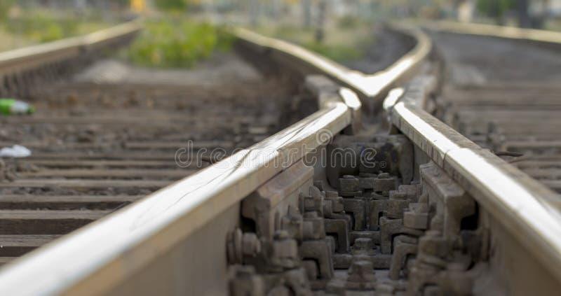 铁路轨道,高速路轨铁路pointwork 免版税图库摄影