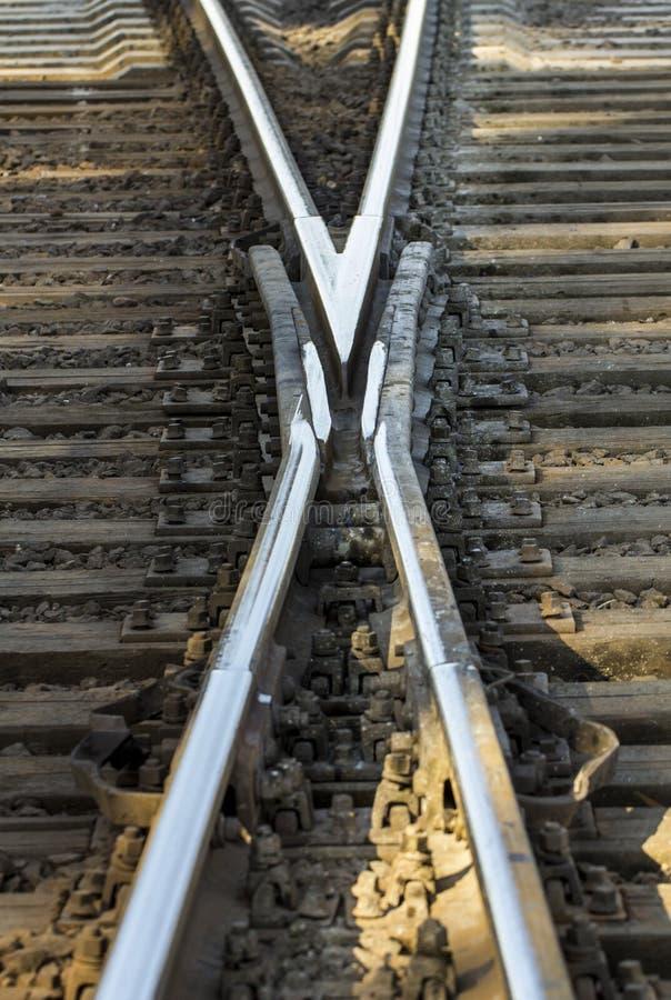 铁路轨道,高速路轨铁路pointwork 图库摄影