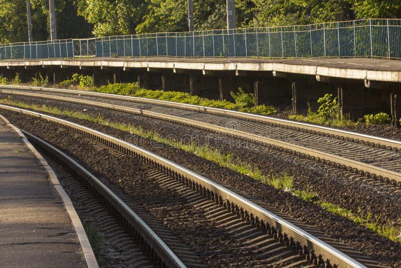 铁路轨道,高速路轨铁路pointwork 免版税库存图片